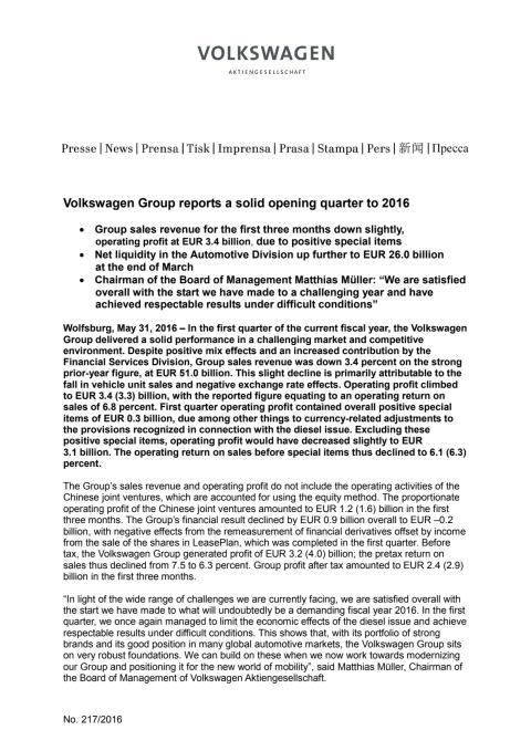 Volkswagen Group reports a solid opening quarter to 2016