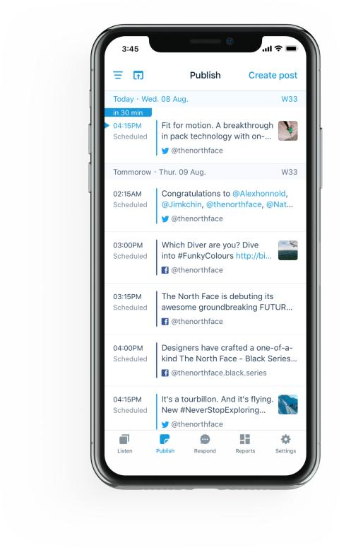 Screenshot of iphone view of Mention's Publish feature