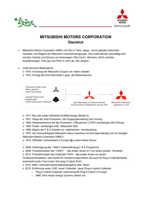 MITSUBISHI MOTORS CORPORATION  Überblick