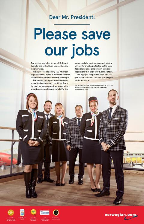 Norwegian's U.S. Based Flight Attendants Send Strong Message to President Obama