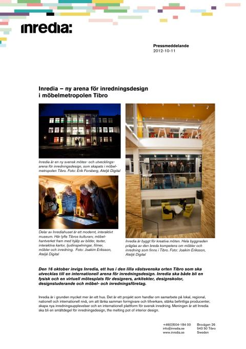 Fakta om Inredia - ny internationell arena för svensk inredningsdesign