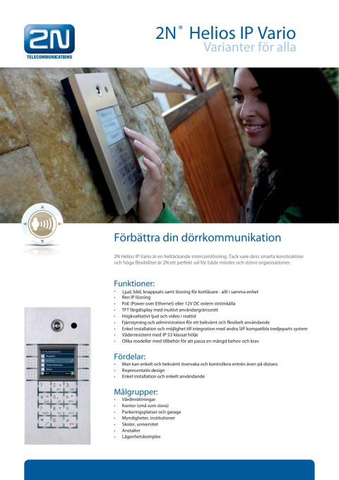 Porttelefoner från Gate Security - 2N Helios IP Vario