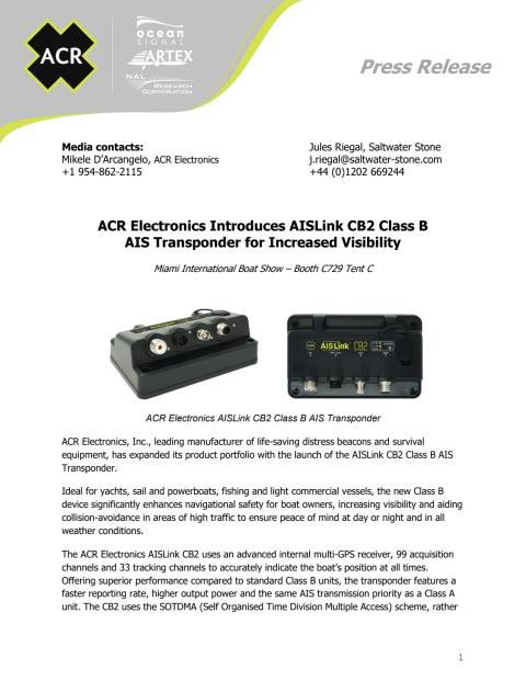 ACR Electronics Introduces AISLink CB2 Class B AIS Transponder for Increased Visibility