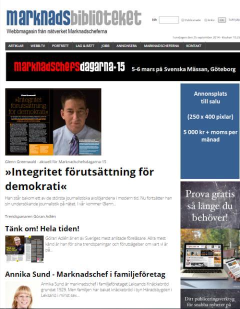 Marknadsbiblioteket.se - Webbmagasinet en succé redan från starten