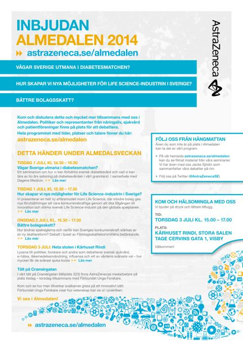 Inbjudan till AstraZenecas seminarier i Almedalen 2014