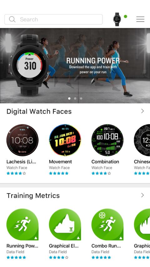 Connect IQ App Store, Watch Faces, Training Metrics