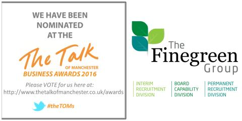 Finegreen shortlisted for Recruitment Company of the Year at the Talk of Manchester Awards 2016! Cast your vote now!