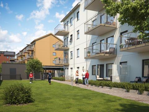 Illustration av gårdssida med balkonger & gemensamma gräsytor, BoKlok Paraden i Upplands Väsby