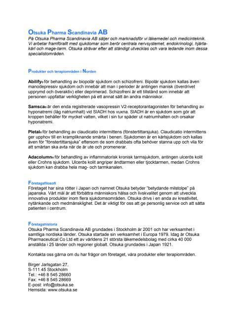 Otsuka Pharma Scandinavia AB