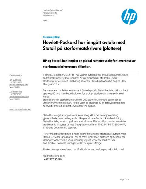 2012 10 04 Pressemelding HP og Statoil inngår rammeavtale om Storformat