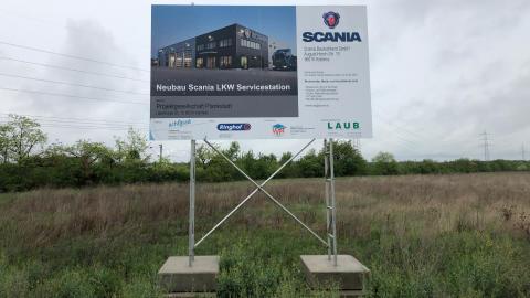 Bauschild Scania Mannheim Plankstadt