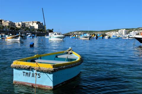Båtar i hamn på Malta