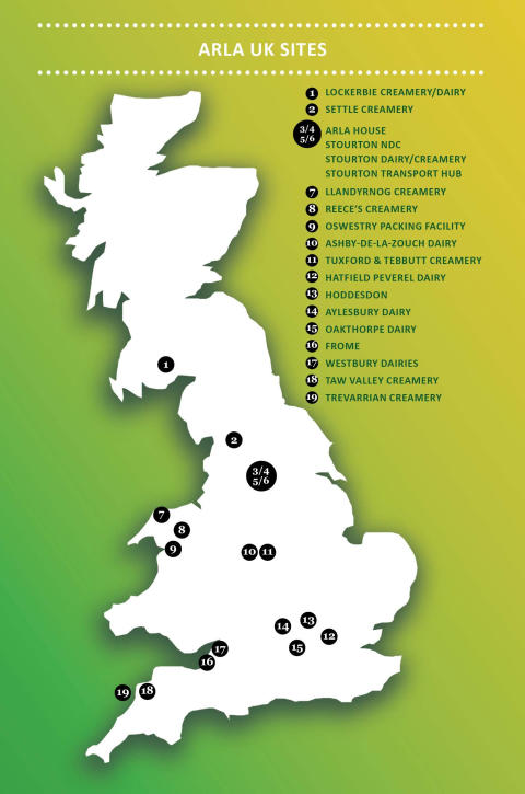 Map of Arla Food UK Dairies