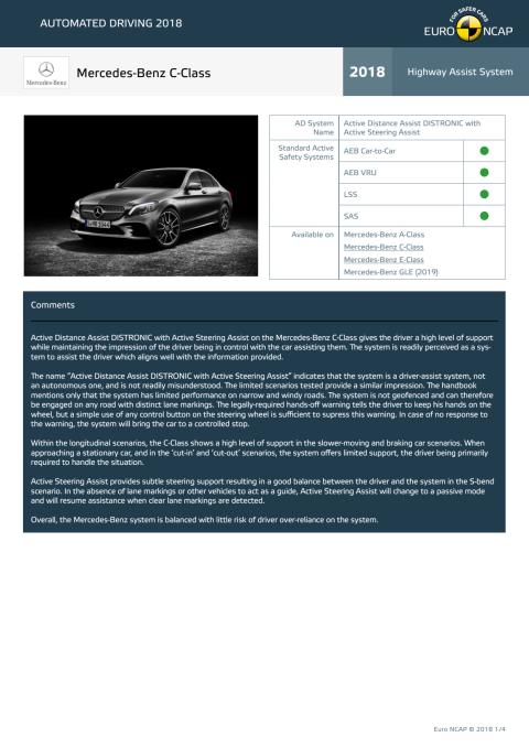 Automated Driving 2018 - Mercedes-Benz C-Class datasheet