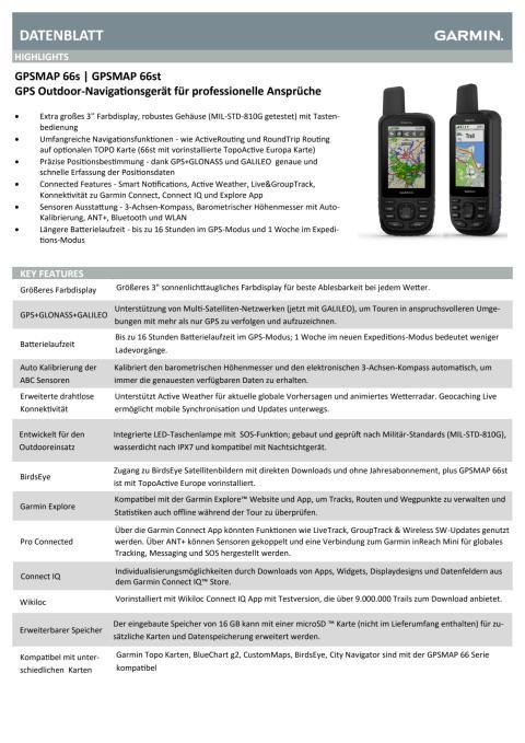 Datenblatt GPSMAP 66s/st