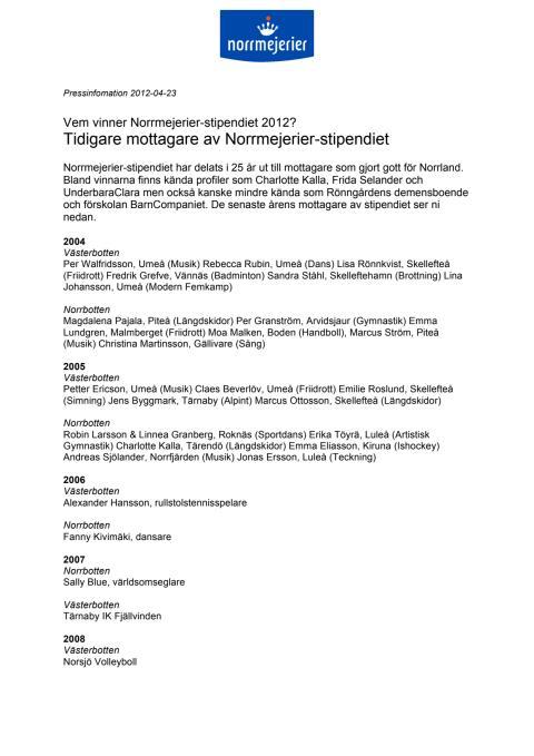 Tidigare mottagare av Norrmejerier-stipendiet
