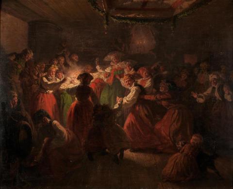 Facklor och ljus  inomhus: Bröllopsdans i Österåker, målning av Johan Wilhelm Wallander 1858, foto Bertil Wreting, Nordiska museet