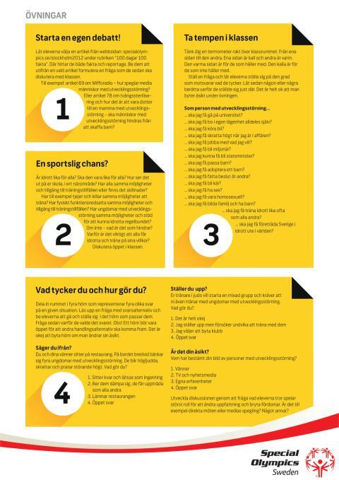 Ett enkelt lektionsunderlag som kompletteras av en film kring Special Olympics Sweden