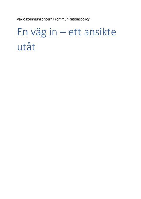 Växjö kommunkoncern kommunikationspolicy