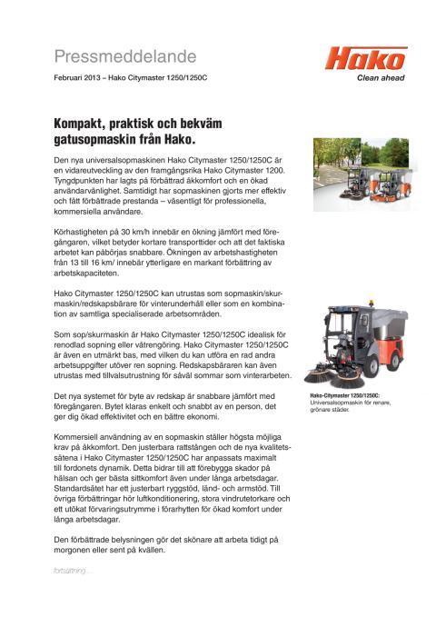 Pressmeddelande Hako Citymaster 1250/1250C