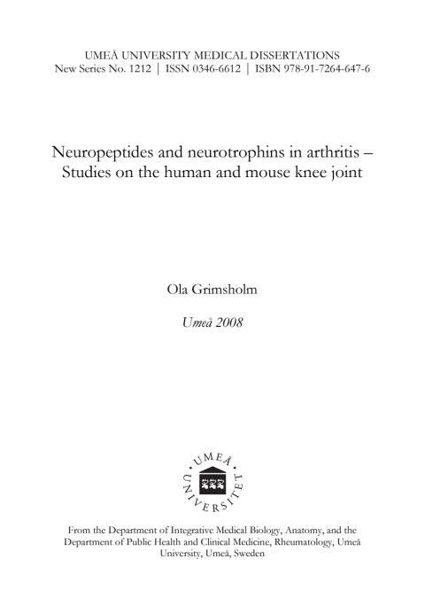 Neuropeptides and neurotrophins in arthritis – Studies on the ...