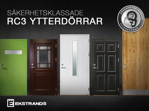 Flexibla säkerhetsklassade RC3 ytterdörrar från Ekstrands