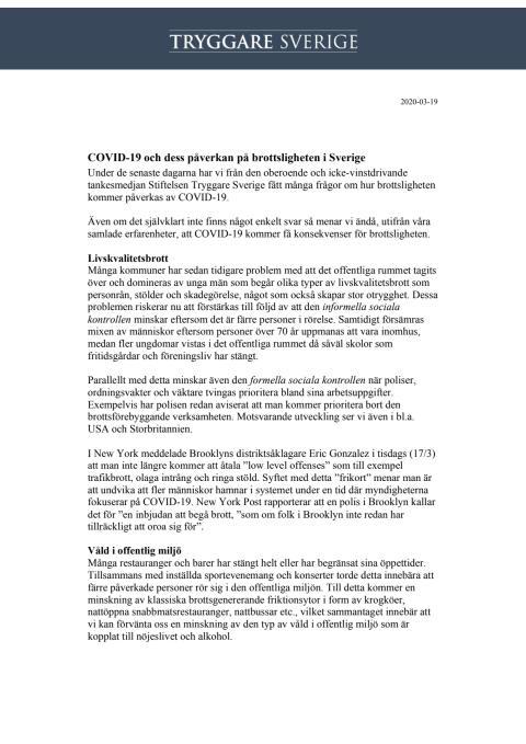 COVID-19 och dess påverkan på brottsligheten i Sverige
