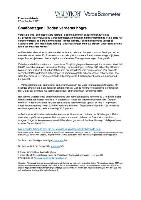 Värdebarometern 2017 Bodens kommun