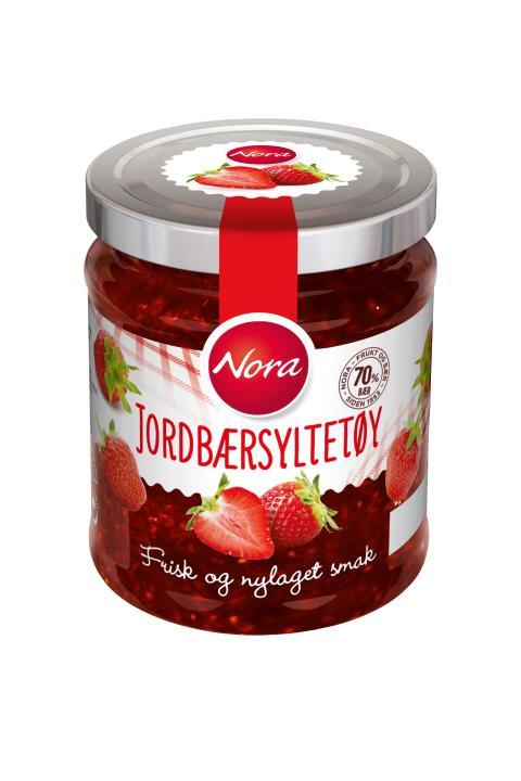 Nora Jordbærsyltetøy friskt og nylaget med 70 prosent bær