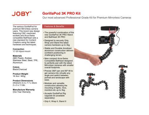 Joby GorillaPod 3K Pro Kit datasheet