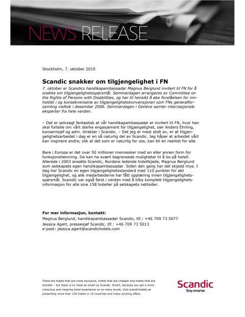Scandic snakker om tilgjengelighet i FN