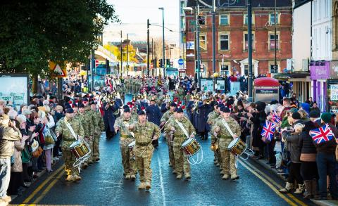 Fusiliers on film – Rochdale's homecoming parade goes online