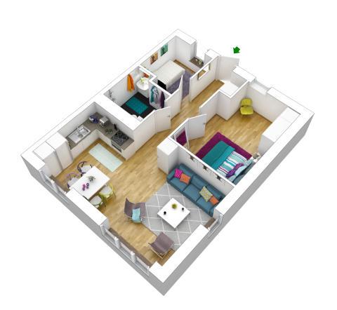 55 kvm med tre rum och kök på Kvarnbergsplan i Huddinge. Foto: Veidekke