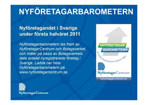 Nyföretagarbarometern, juni 2011