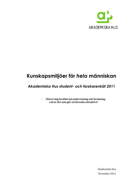 Akademiska Hus student- och forskarundersökning