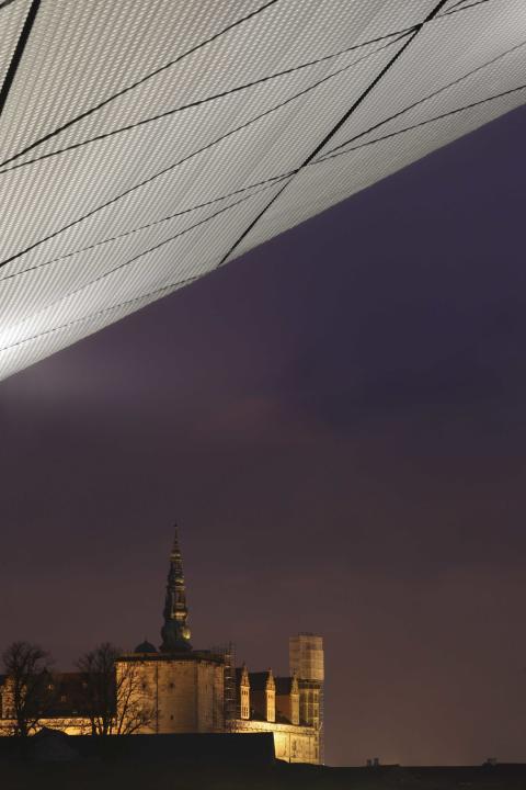 Kulturværftet, aften, udsigt til Kronborg