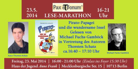 """Pirato-Papagei segelt zum """"24 Stunden Buch""""/Pax et Bonum Verlag - Kleiner Lese-Marathon mit guten Büchern 23.05.2014 im Haus der Jugend Anne Frank."""