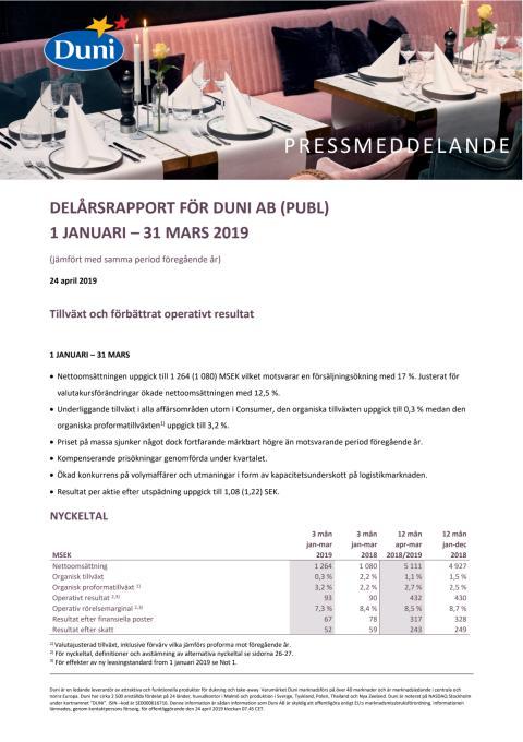 Delårsrapport för Duni AB (publ) 1 januari - 31 mars