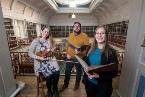 From l-r Dr Rachael Durkin, Senior Lecturer at Northumbria University; James Smith, Music Librarian at the Lit & Phil; and Dr Katherine Butler, Senior Lecturer at Northumbria University.