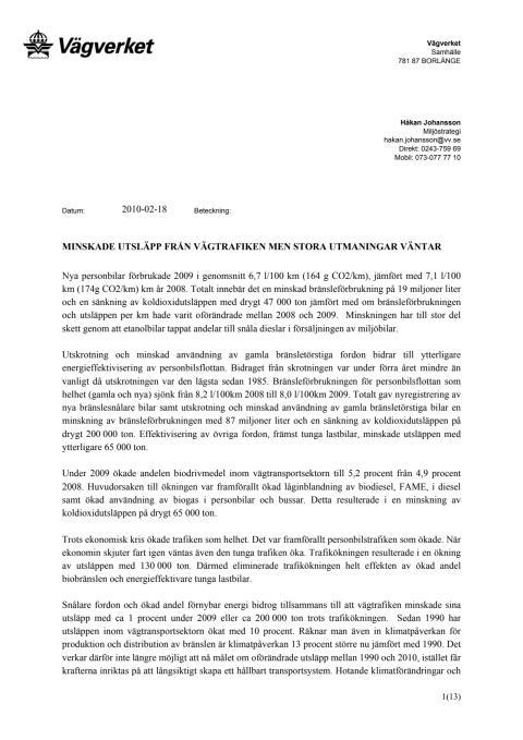 PM från Vägverket - Minskade utsläpp från vägtrafiken men stora utmaningar väntar (PDF-fil, 100 kB)