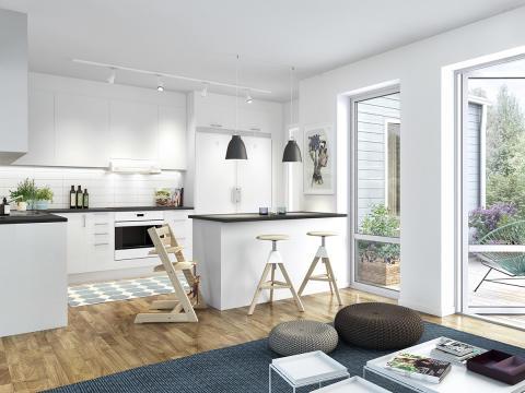Ljust kök med öppen planlösning i Veidekke Bostads kommande projekt Brf Råby Lycka.