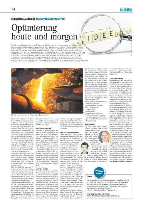 """Pressestimmen: """"Optimierung heute und morgen"""" in: AluminiumKurier"""