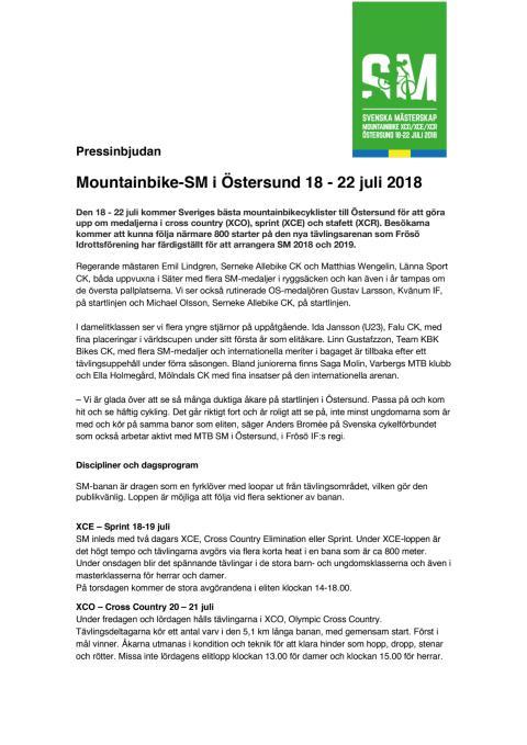 Pressinformation från Frösö IF_Mountainbike SM