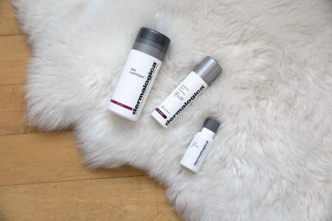 Daily Superfoliant, Dynamic Skin Recovery and Phyto Replenish Oil on Rug