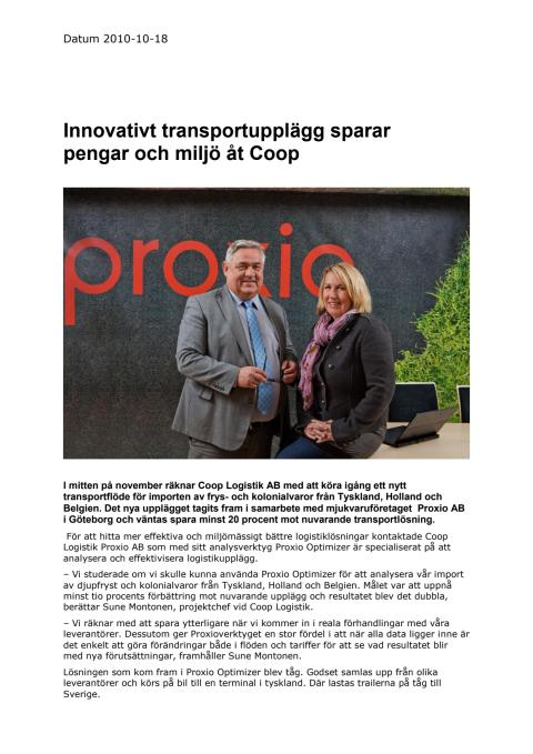 Innovativt transportupplägg sparar pengar och miljö åt Coop