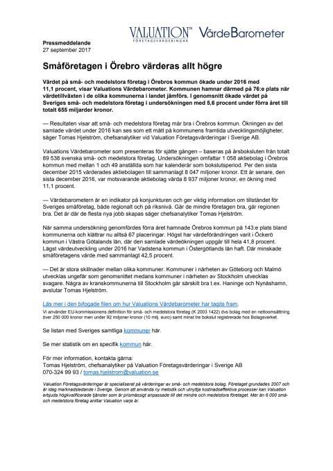 Värdebarometern 2017 Örebros kommun