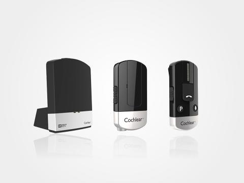 Cochlear trådlösa tillbehör; TV-streamer, MiniMikrofon och TelefonClip
