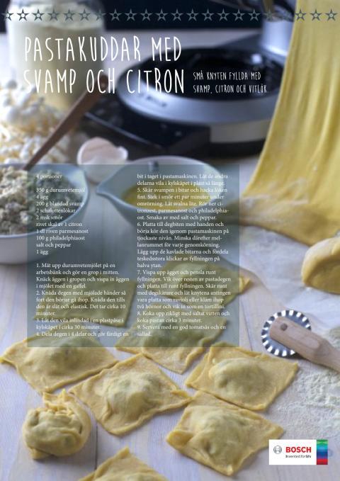Pastakuddar med svamp och citron