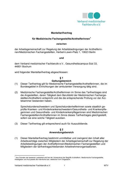 Manteltarifvertrag für medizinische Fachangestellte/ArzthelferInnen gültig ab 01.04.2017