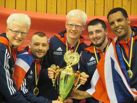 The British goalball team celebrating their gold medal at the 2015 European Championships